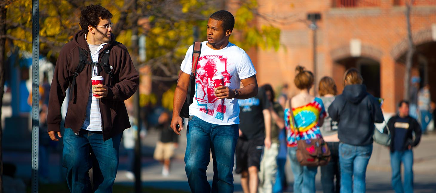 Students walking outside on UB's North Campus