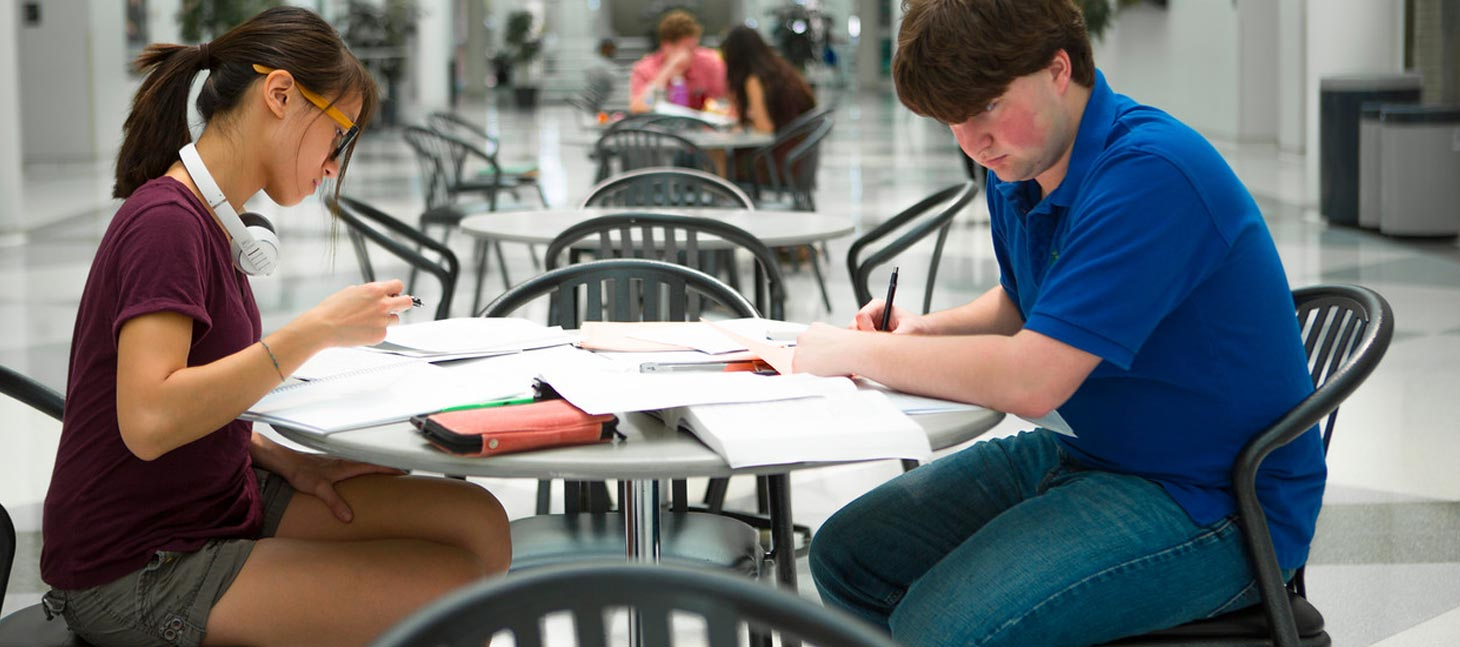 Students studying in Center for the Arts