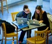 MBA students working in atrium