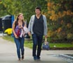 Students walking in the fall
