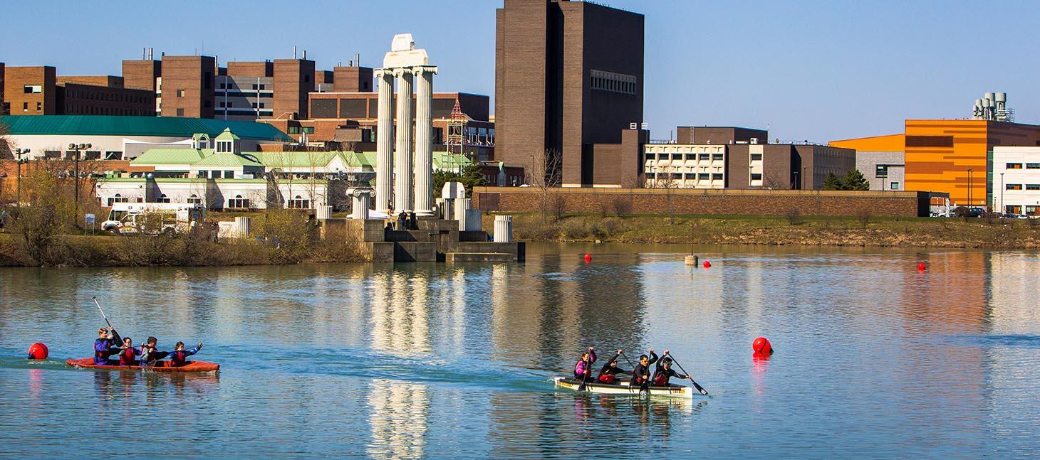 Kayakers on Lake LaSalle on UB's North Campus