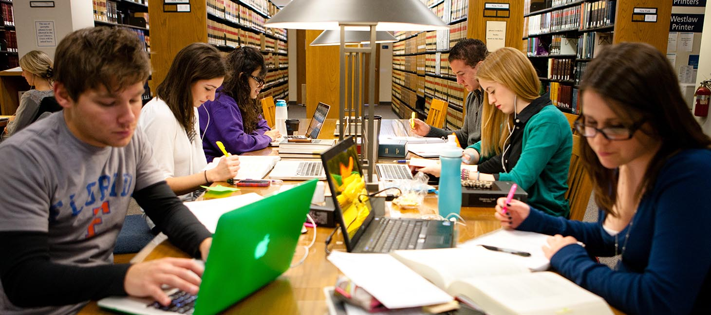 Law students studying in O'Brian Hall