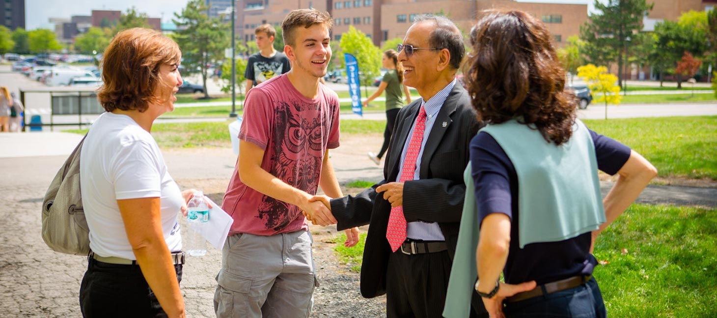 President Tripathi meeting new students