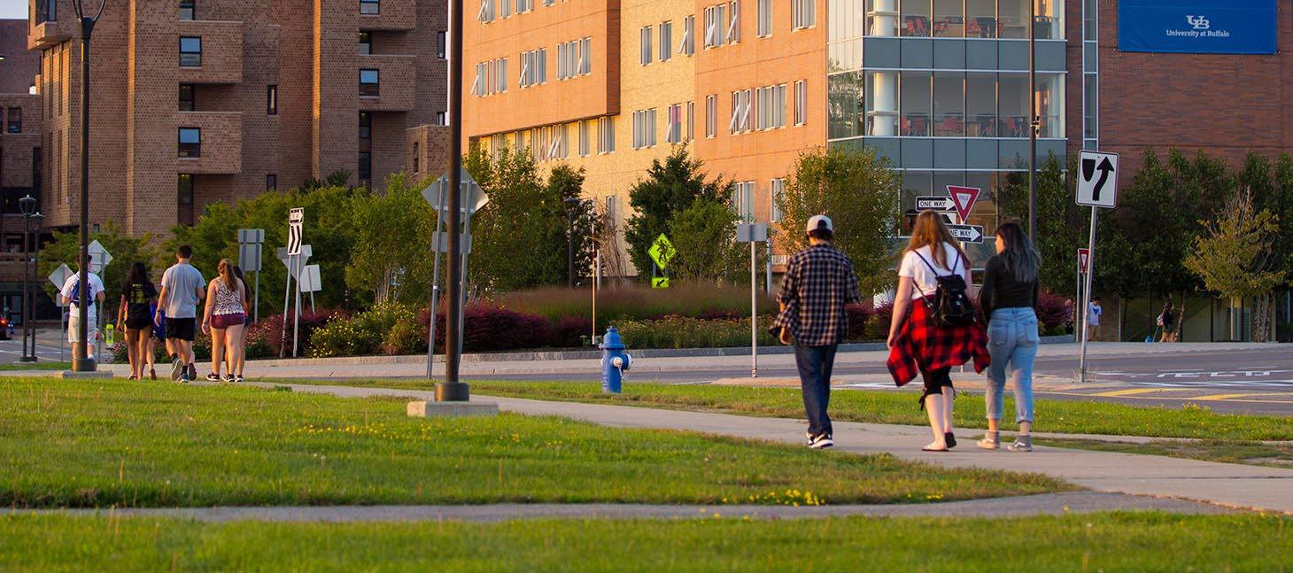 Students walking on North Campus near Greiner Hall.