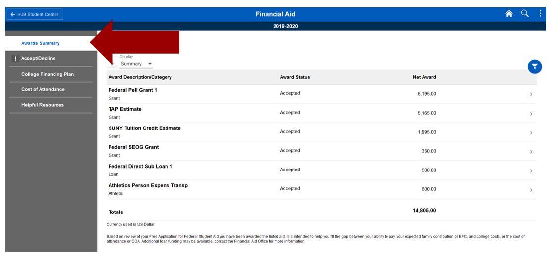 Screenshot of Awards Summary screen with arrow pointing to Awards Summary sub-navigation.