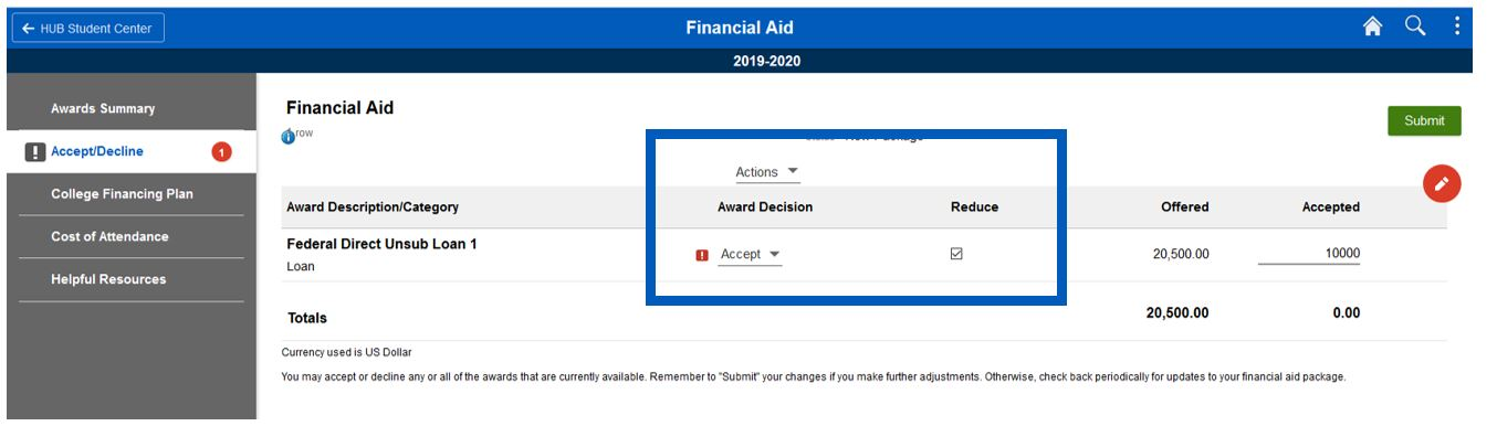 Screenshot of Accept/Decline page with box highlighting around the Accept/Decline/Reset menu and Reduce checkbox.