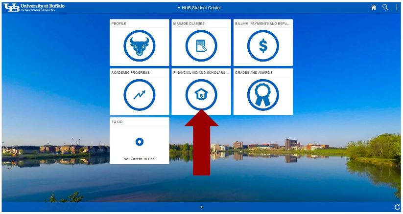 Screenshot of HUB Student Center with arrow pointing to Financial Aid and Scholarships tile.